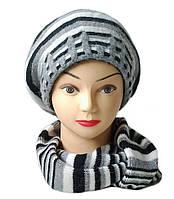 Женская вязаная шапка и берет Полли серый-полоска