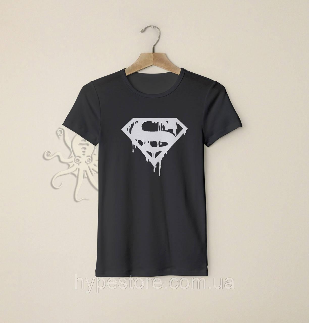 Мужская черная футболка, чоловіча футболка Superman (белый лого), Реплика