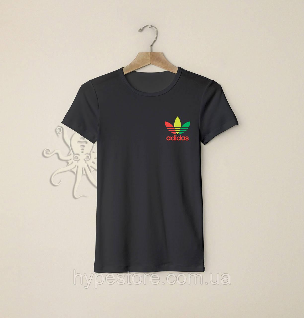 Мужская черная футболка, чоловіча футболка Adidas, Реплика