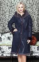 Дубленка женская Oscar Fur 347  Темно -синий