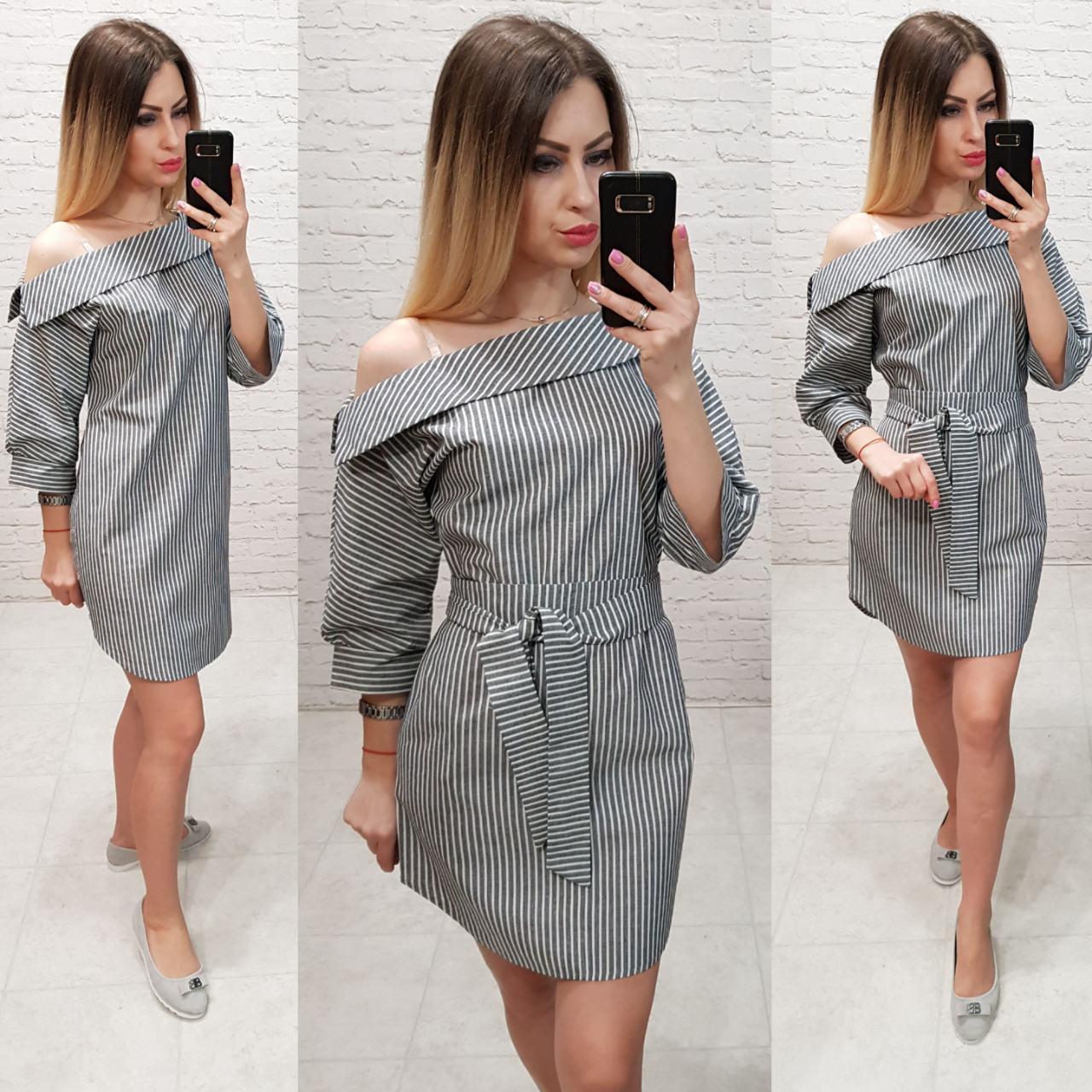 Платье женское, лён, модель 161, черная полоска