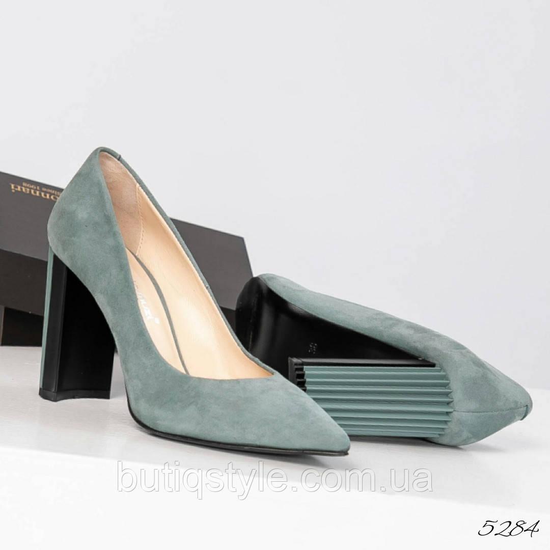 36,37 размер Элитные женские мятные туфли на фигурном каблуке натуральный велюр