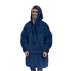 ✸Плед Snuggie Blanket Blue с рукавами толстовка-плед с флиса от холода с капюшоном