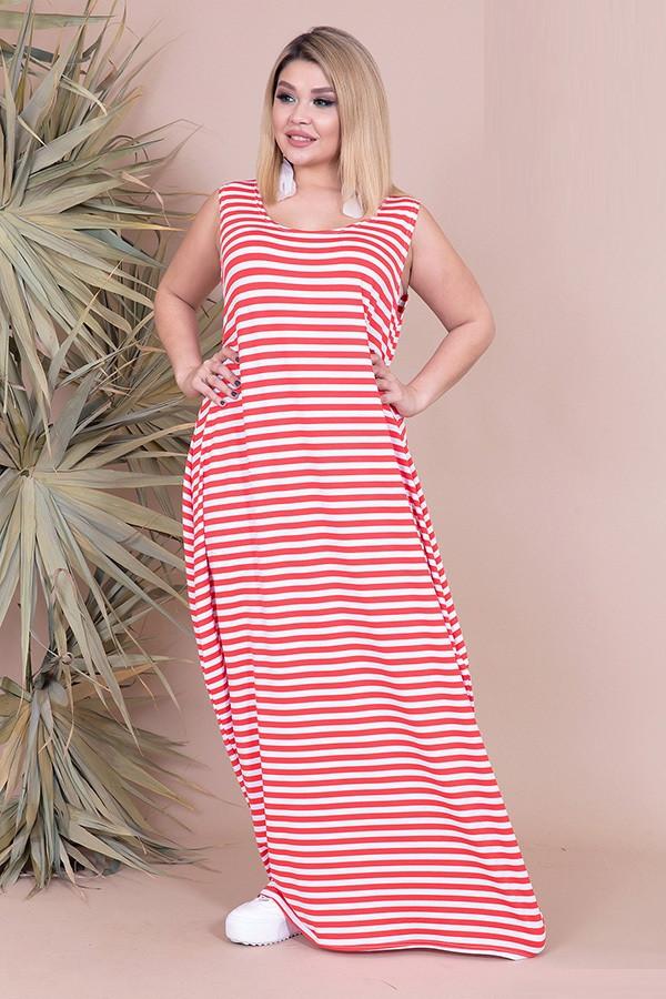 Ультрамодное летнее платье в полоску 46547 (48–54р) в расцветках