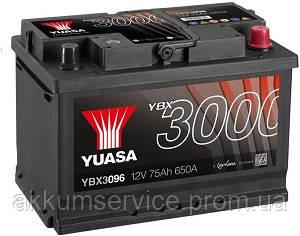 Акумулятор автомобільний Yuasa SMF 75AH R+ 650А YBX3096