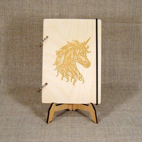 Скетчбук A5. Блокнот с деревянной обложкой Единорог