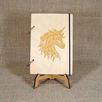 Скетчбук A5. Блокнот с деревянной обложкой Единорог, фото 1