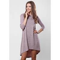 Платье трапеция женское стильное утепленное розово-серый меланж «колокольчик» ангора