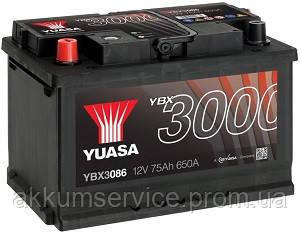 Аккумулятор автомобильный Yuasa SMF 75AH L+ 650А YBX3086