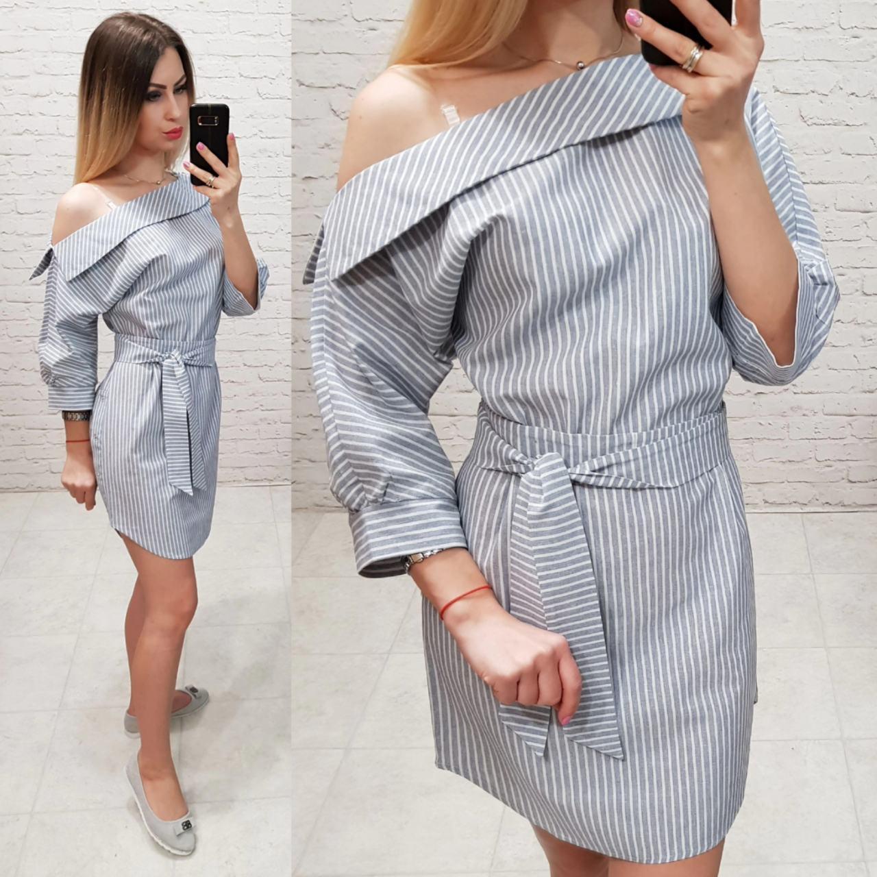Платье женское, лён, модель 161,  светло серая полоска