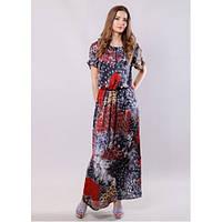 Платье летнее длинное в яркий принт, с короткими рукавами