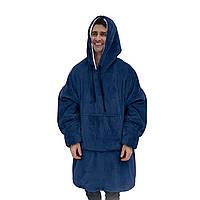 ➚Плед Huggle Hoodie Blue одеяло-пижама с капюшоном на флисе толстовка-плед с рукавами