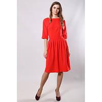 Платье женское красное приталенное с пышной юбкой