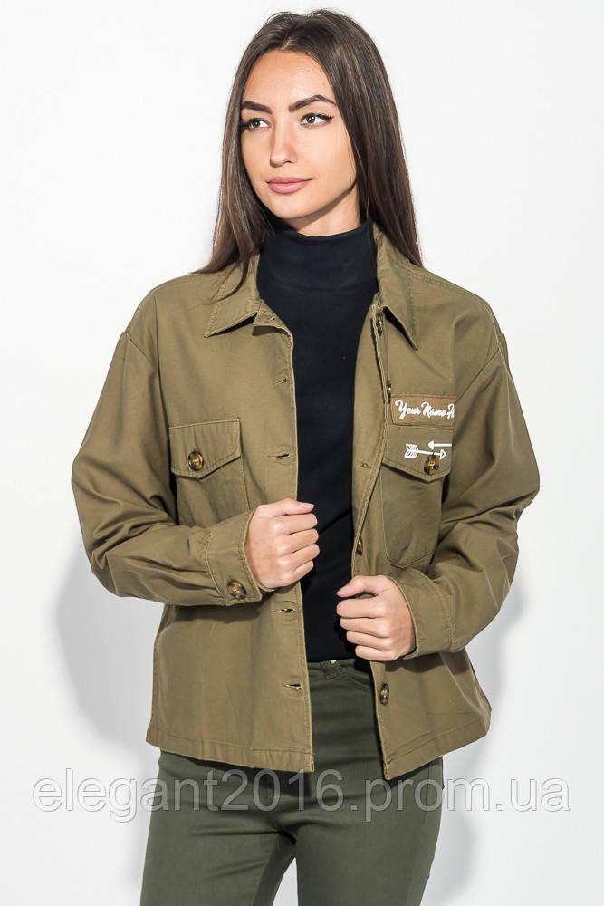 Куртка женская стильная, с нашивками 209V001 (Хаки)