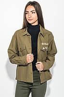 Куртка женская стильная, с нашивками 209V001 (Хаки), фото 1