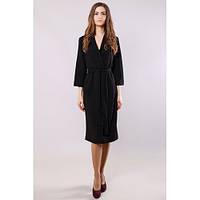 Стильное платье-халат миди женское черное с поясом