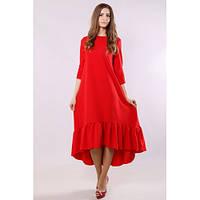 Платье женское красное с широкой пришивной рюшей по низу, рукава три четверти