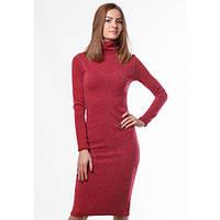 Платье демисезонное ангоровое красное миди