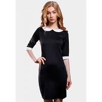 Платье женское черное облегающее короткое с белым воротником и манжетами SFN