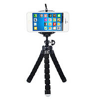 🔝 Гнучкий штатив для телефону Восьминіг Selfie Flexi Pod, тримач для смартфону, Чорний | 🎁%🚚