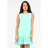 Летнее легкое голубое платье с рюшей мини без рукавов 42, 44, 46, 48 р.