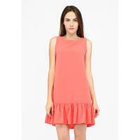 Легкое летнее розовое платье с рюшей без рукавов SFN