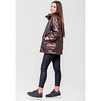 Куртка оверсайс двухсторонняя стильная, стороны коричневая эко-кожа и черная, воротник широкий стойка SFN
