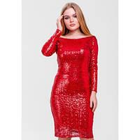 Платье вечернее облегающее красное в пайетки SFN