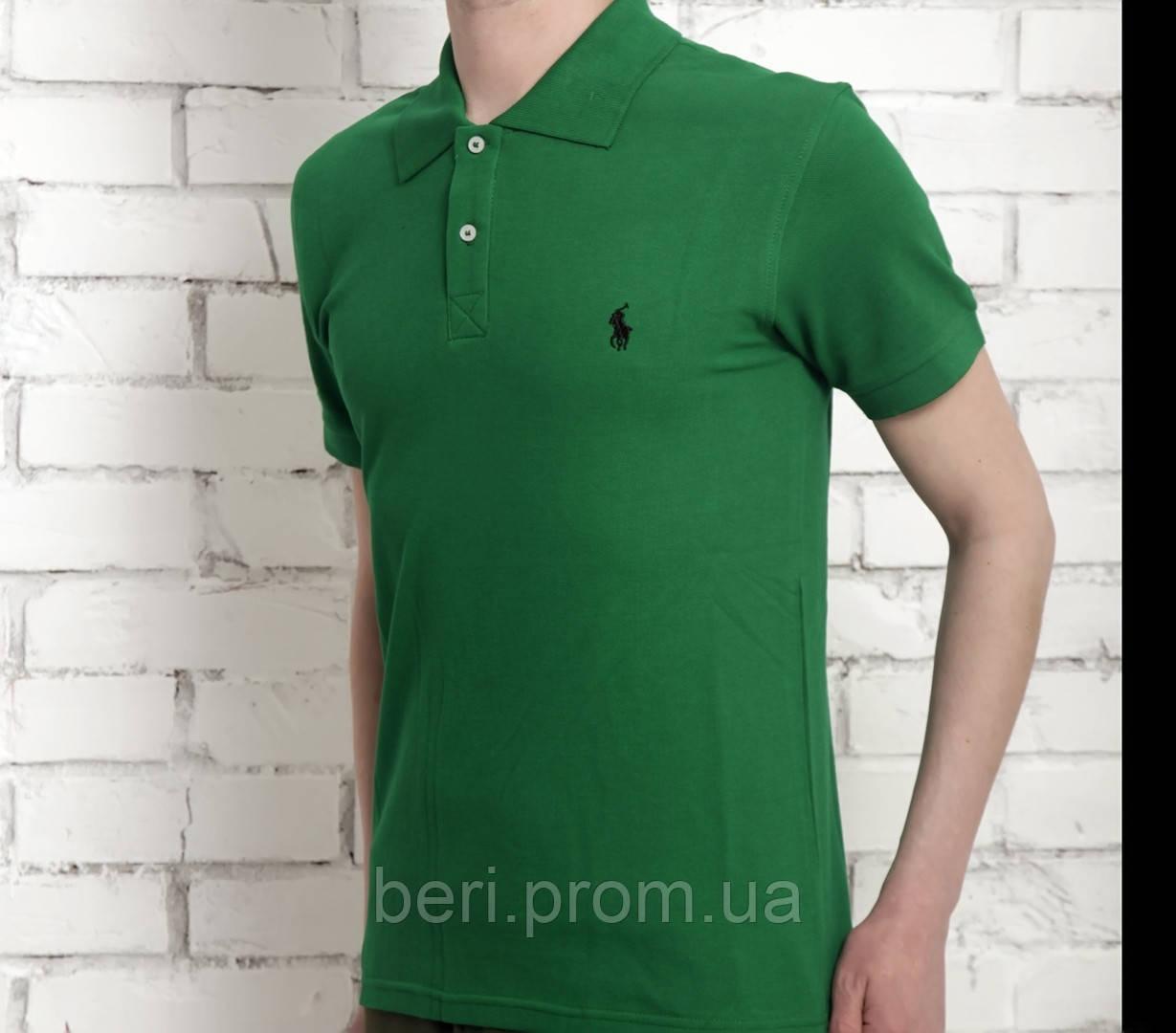 Мужская футболка тениска поло Ralph Polo Lauren | Чоловіча теніска поло Ральф Поло Лорен (Зеленый)