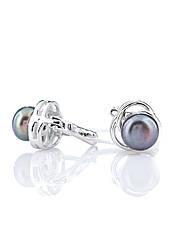 Сережки срібні з темним перлами Е-569