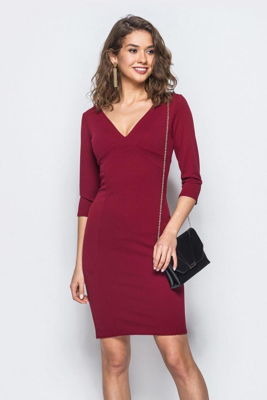 (S, M, L) Красиве марсалове вечірнє плаття Britny