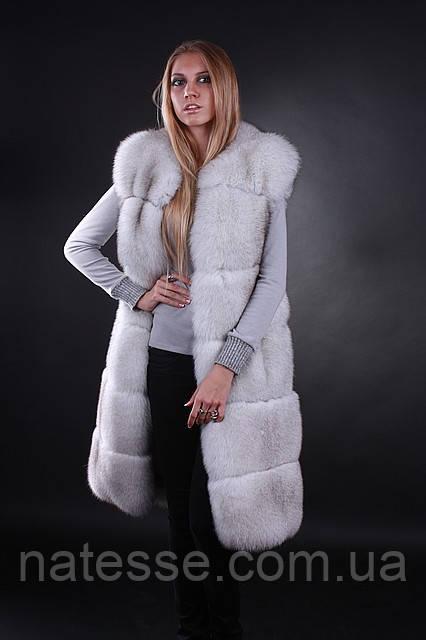 Жилет жилетка из цельного финского вуалевого песца, длина 100 см Finn Finland bluefox blue fox long fur vest