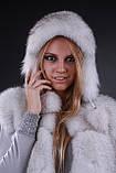 Жилет жилетка из цельного финского вуалевого песца, длина 100 см Finn Finland bluefox blue fox long fur vest, фото 5