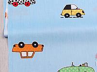 Сатин-твил Машинки крупные на голубом