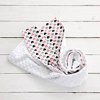 "Одеяло, плед для новорожденного ""Сердечки"""