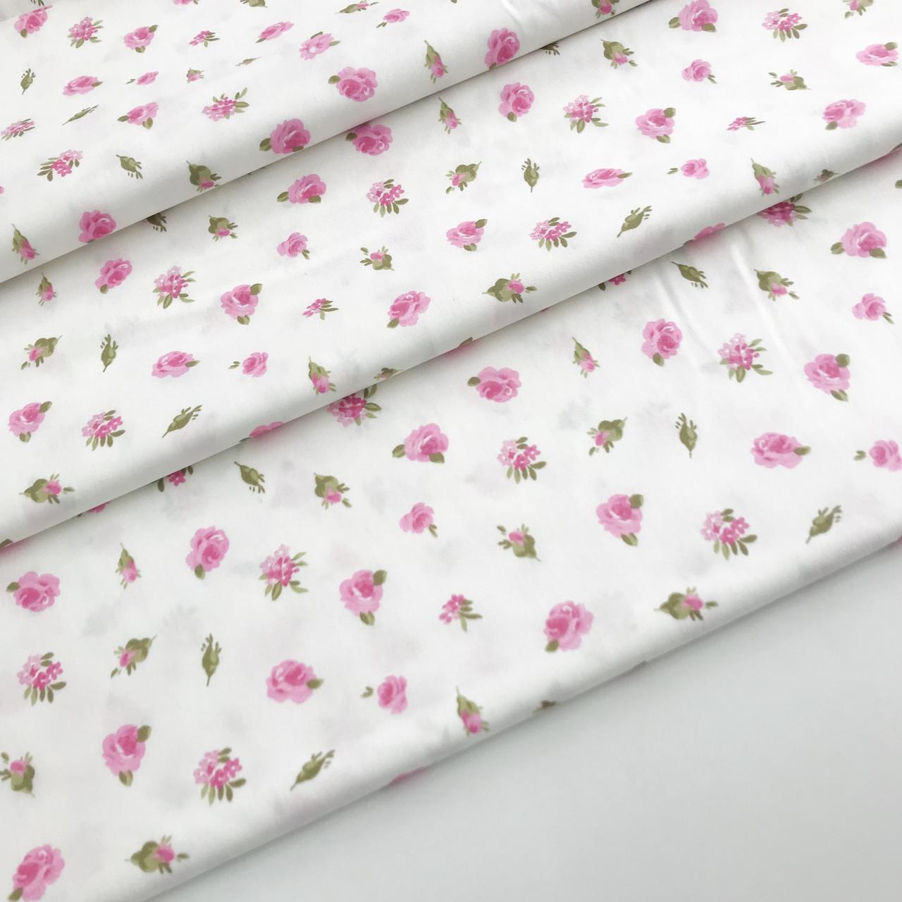 """Сатин """"квіточки дрібні на білому"""" 160"""