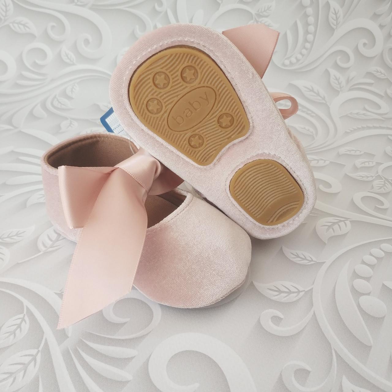 Бархатные нарядные туфли пинетки