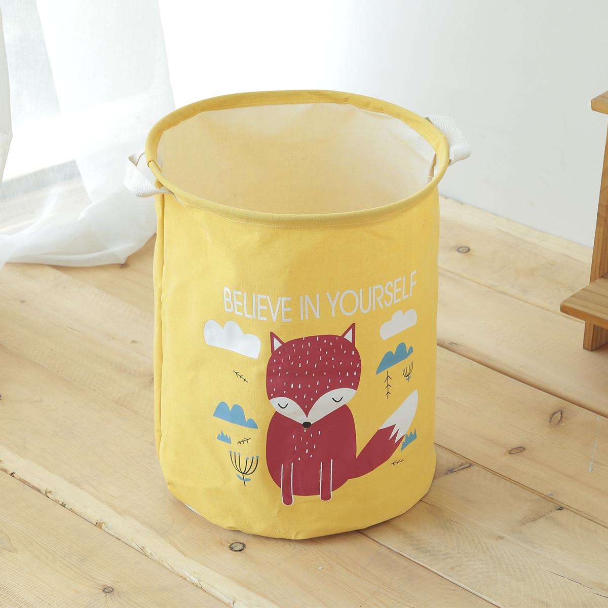 Желтая корзина для игрушек с ручками Лисица (35х45)