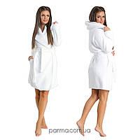 Белый махровый женский халат с капюшоном (р.S-L)