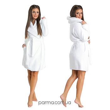 Махровый женский халат с капюшоном (р.42-48) белый