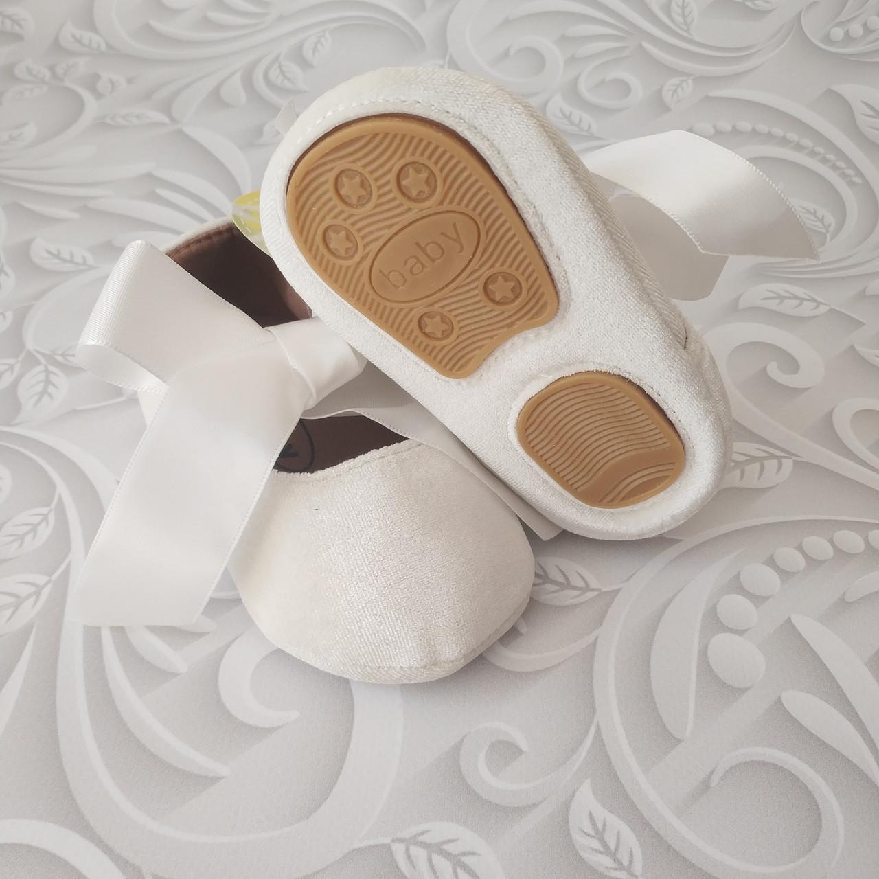 Белые  нарядные туфли пинетки
