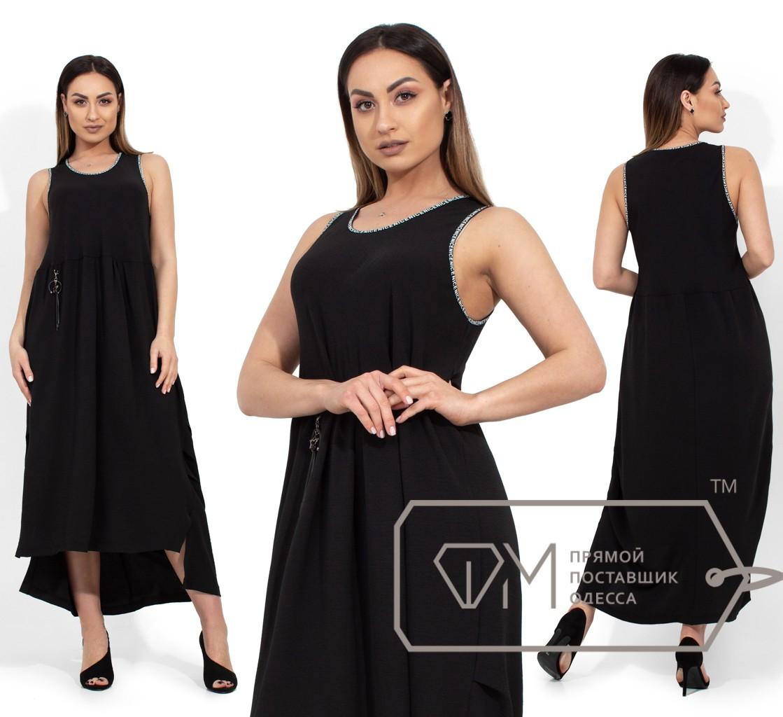 Летнее платье миди, черный