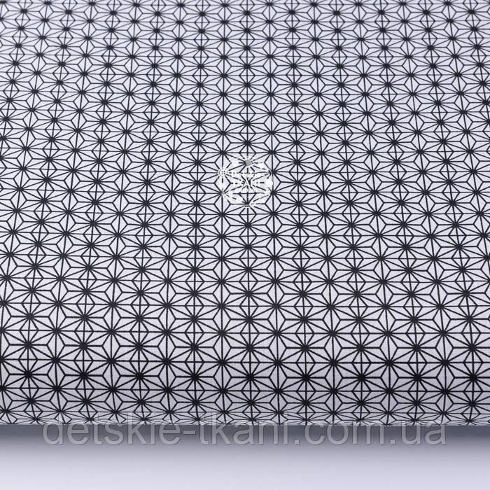 """Ткань хлопковая """"Маленький геометрический цветок"""" чёрный на белом № 2191а"""