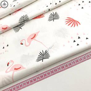 """Сатин """"фламинго розовые на белом"""" 160, фото 2"""