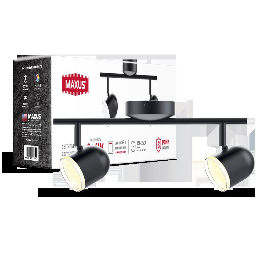 Спотовый светодиодный светильник (бра) MAXUS MSL-01C 2x4W 4100K Черный