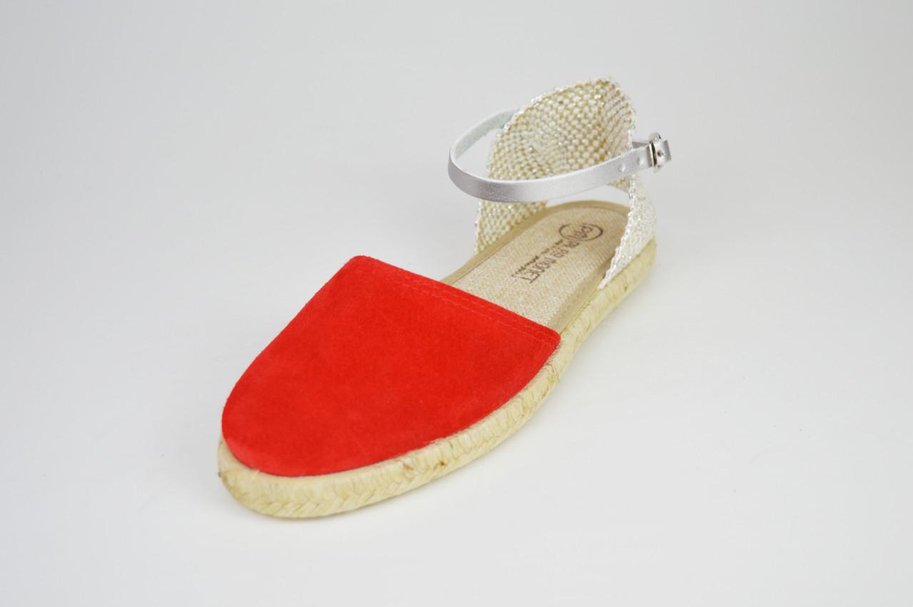 Босоножки замшевые красные Pilar Monet 24151