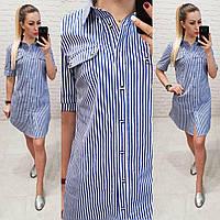 Платье- рубашка, арт827, вертикальная полоска, цвет джинс
