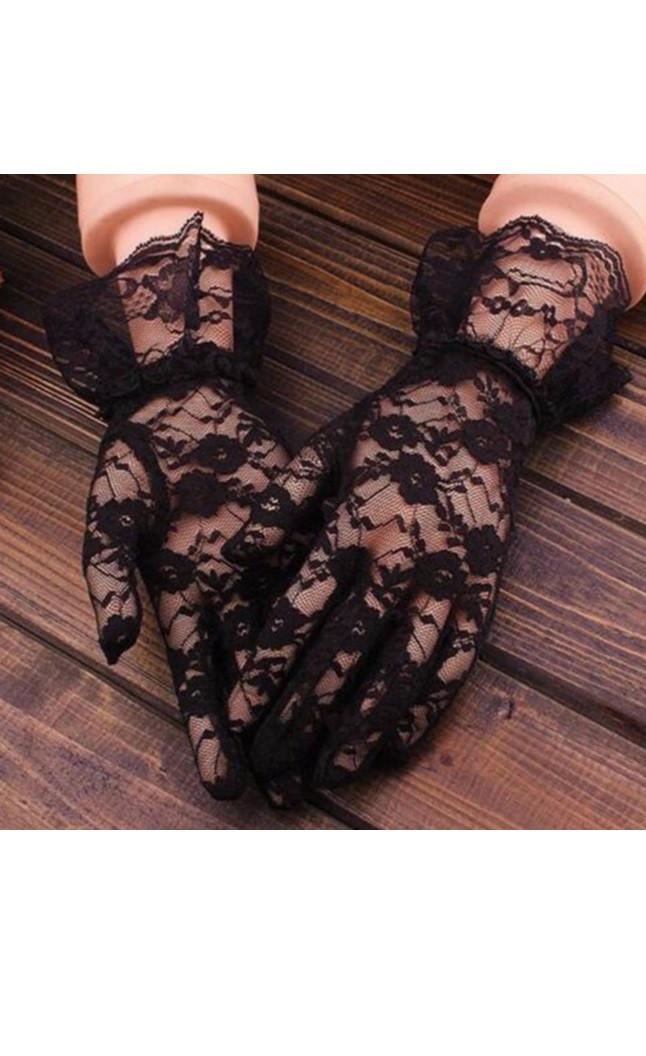 Черные кружевные перчатки А-1132