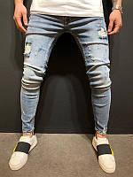Мужские стильные джинсы, светлые с потертостями