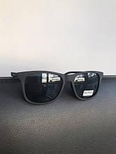 Очки черные матовые с широкой линзой и ребристой дужкой №3